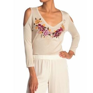 Johnny Was Embroidered Silk Blend Top NWT